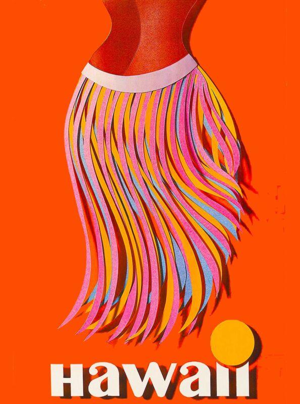 Hawaii Hawaiian Hula Skirt United States America Travel Advertisement  Poster