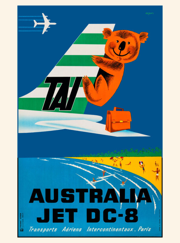 Australia Koala Bear Airplane Australian Vintage Travel Advertisement Poster