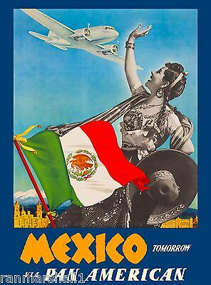 Mexico Tomorrow by Air Mexican Vintage Travel Advertisement Art Poster