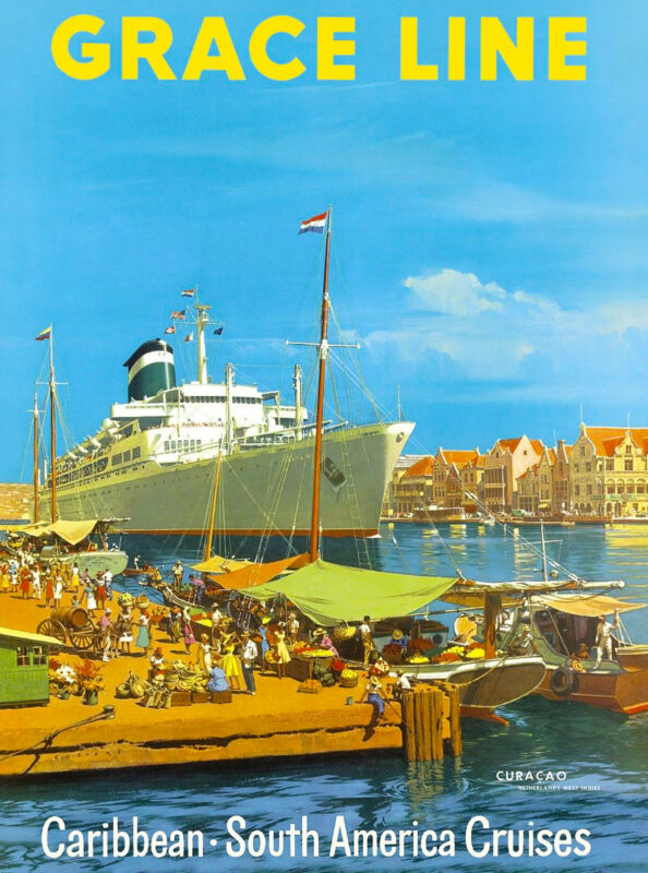 Curacao Dutch Caribbean Island Grace Line Vintage Travel Advertisement Poster