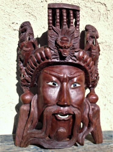 ANTIQUE HAND CARVED ROSE WOOD DETAILED CARVED MASK CHINESE EMPEROR w/ DRAGONS