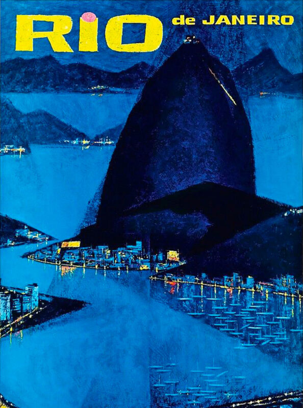 Rio Brazil Sugar Loaf Mountain South America Travel Advertisement Art Poster