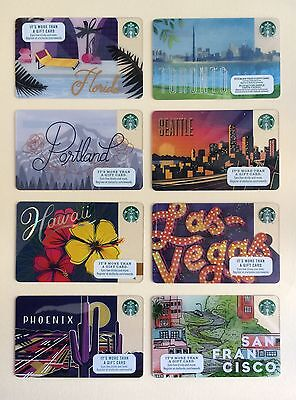 2017 Starbucks Card - San Francisco, Portland, Seattle, Florida, Hawaii, Toronto
