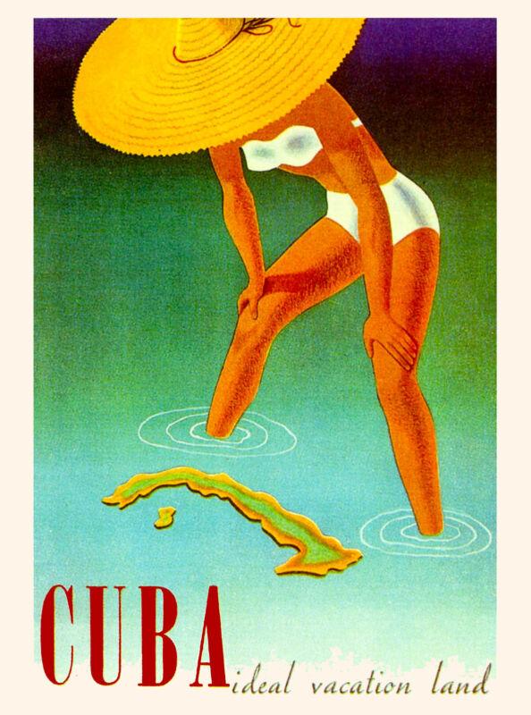 Cuba Ideal Vacation Cuban Havana Habana Caribbean Travel Advertisement Poster