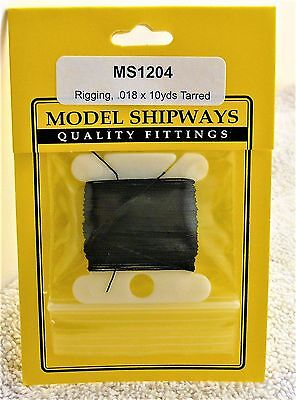 "Model Shipways Fittings MS 1204 Black Tarred Rigging. .018"" X 30'. 10 YDS. NEW."