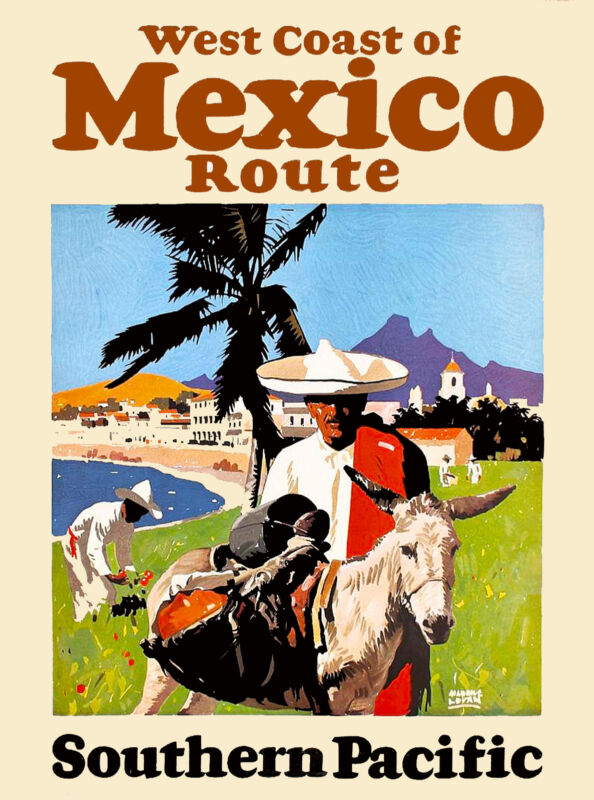 West Coast of Mexico by Train Mexican Vintage Travel Advertisement Art Poster