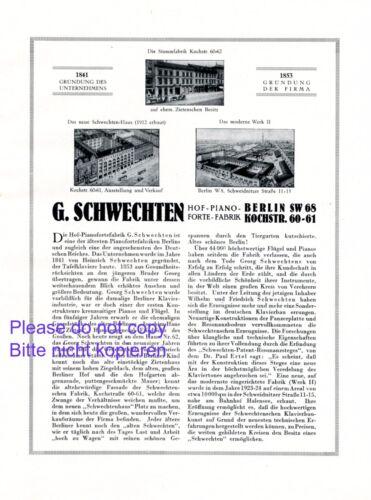 Piano Schwechten Berlin XL 1925 ad Germany advertising grand history +