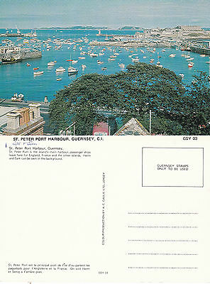 1970's THE HARBOUR St PETER PORT GUERNSEY CHANNEL ISLANDS COLOUR POSTCARD
