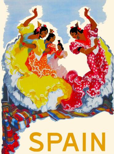 Spain Spanish Dancers European Europe Vintage Travel Advertisement Art Print