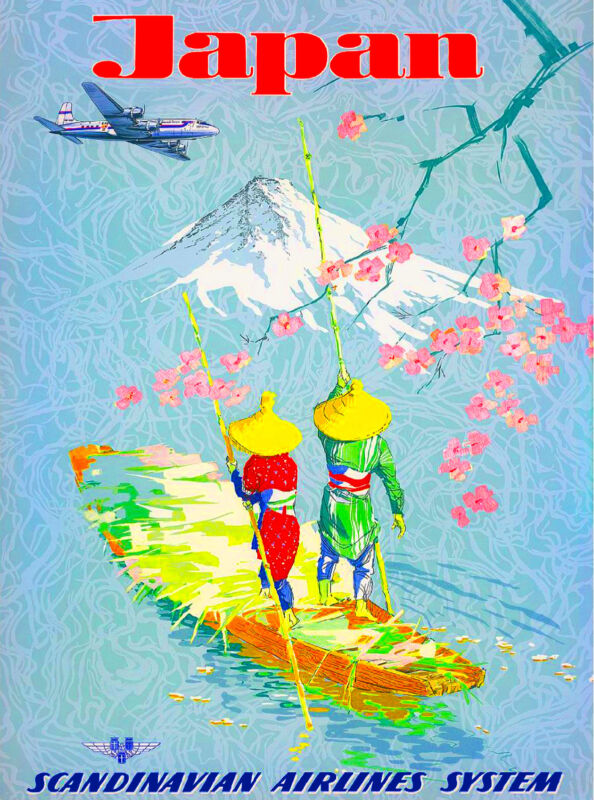 Japan Japanese by Airplane Mt. Fuji Asia Vintage Travel Advertisement Poster