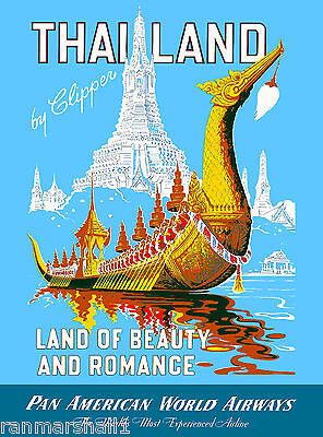 Thailand Land of Beauty Romance Thai Asia Asian Travel Advertisement Art Poster