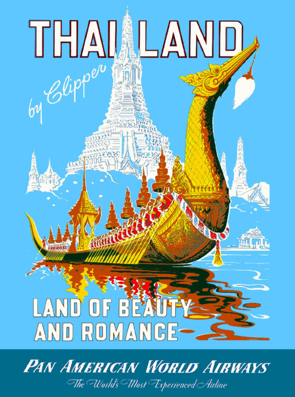 Thailand Land of Beauty Romance Thai Asia Asian Travel Advertisement Art Poster