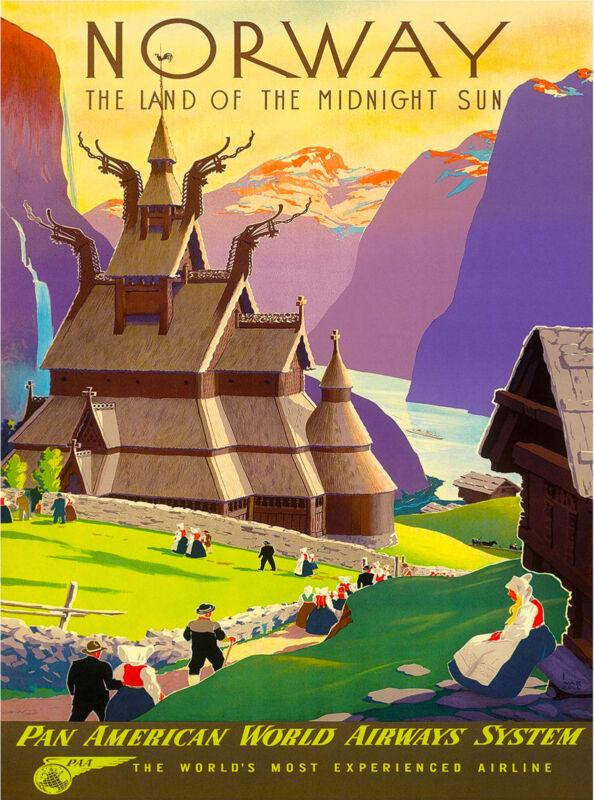 Norway Land of Midnight Sun European Scandinavia Travel Advertisement  Poster