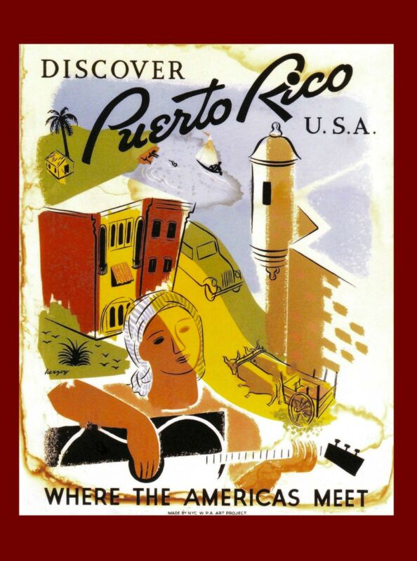 United States Visit Puerto Rico Discover Vintage Travel Advertisement Poster