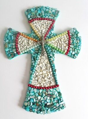 Mosaic Cross (Contemporary Mosaic Hand Decorated Wall Cross Pearls, Stone Chips and Shells)