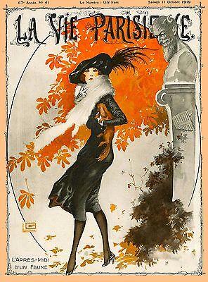 1920's La Vie Parisienne French Autumn Day France Travel Advertisement Poster