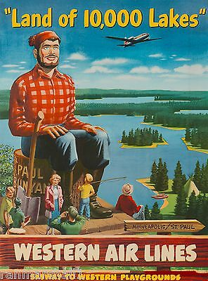 Land 10,000 Lakes Minnesota United States America Travel Advertisement Poster