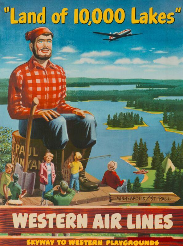 Land 10,000 Lakes Minnesota United States America Travel Advertisement Poster