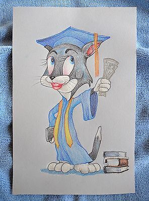 Original colored pencil drawing Graduating Cat