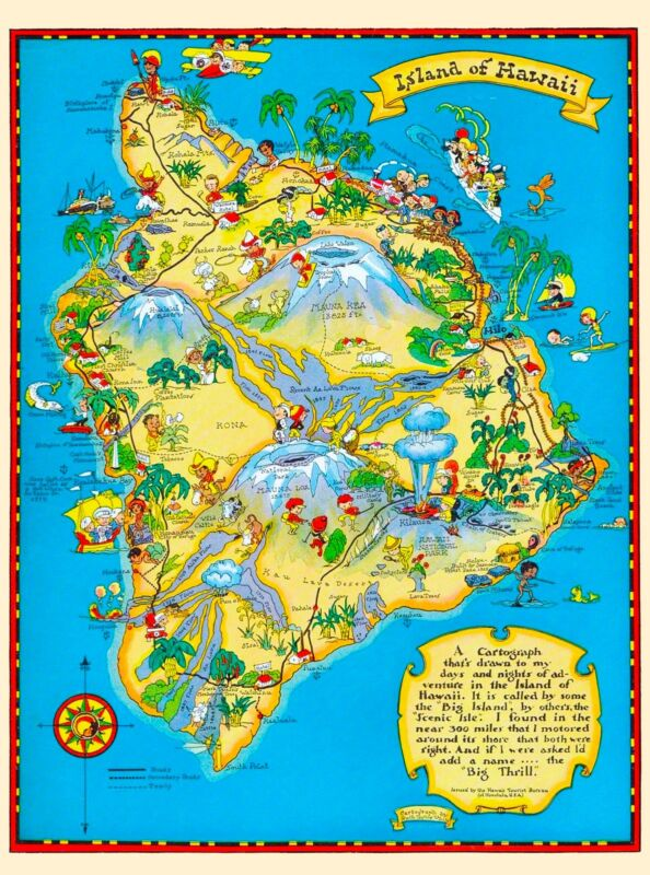 Hawaii Hawaiian Big Isle Map United States America Travel Advertisement Poster