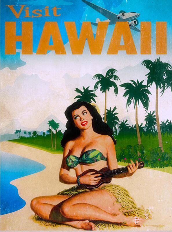 Hawaii Hawaiian Girl Ukelali United States America Travel Advertisement  Poster