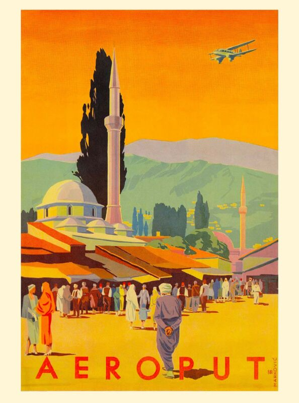 Aeroput Yugoslavia Europe European Vintage Travel Advertisement Art Poster