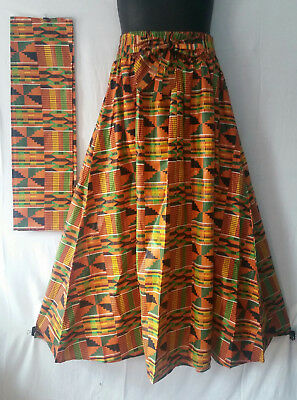 Women Kente Ankara Maxi Long Skirt Elastic Waist 2 Pockets scarf belt  Free Size