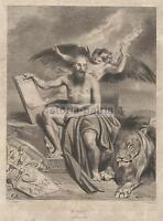 Arte_boulanger_de Frey_antica Illustrazione Allegorica_san Marco_leone_incisione -  - ebay.it