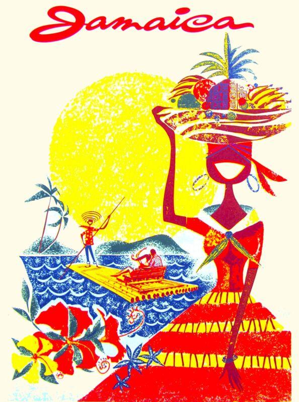 Jamaica Jamaican Caribbean Island Girl Vintage Travel Advertisement Art Poster