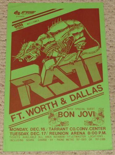 Original 1985 Ratt Bon Jovi Concert Poster Dallas Fort Worth Texas RARE