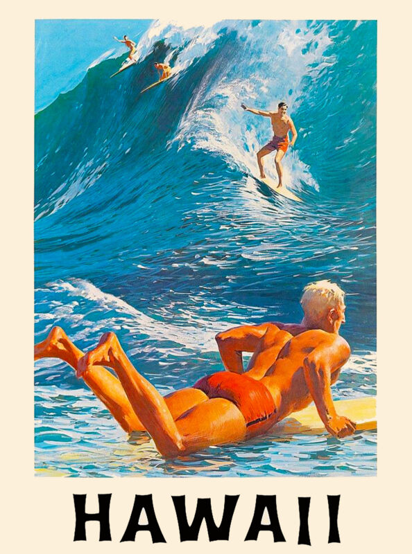 Hawaii Surf Surfing Big Wave United States America Travel Advertisement Poster