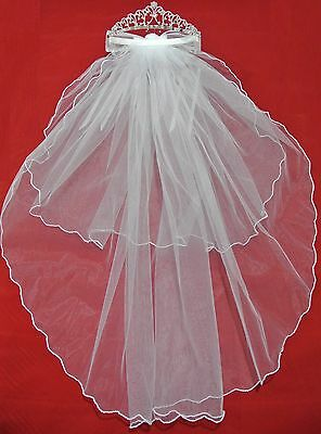 White Ribbon Pearl Crystal Tiara Wedding Flower Girl Veil Holy First Communion](First Holy Communion Tiaras)