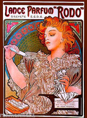"""Rodo""  Perfume Toiletry French Nouveau Mucha Vintage Advertisement Art Poster"