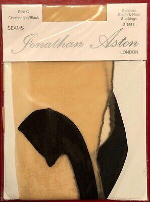 Jonathan Aston Contrast Seam N Heel Nylon Stockings Champagne-Black size C