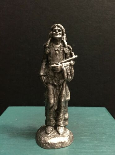 Hudson Pewter Metal Native American Indian Warrior Peace Pipe Feather Figurine