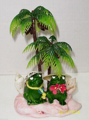Pair of Small Ceramic FROGS FIGURINES Under Pine Trees on Beach w/Shells-Rare