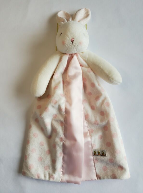 Bunnies By The Bay Carrots White Bunny Baby Security Blanket Lovey Pink Dots NEW