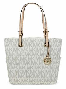 Michael Kors 30s11ttt4b Jet Set Logo Print Signature Vanilla Tote Handbag