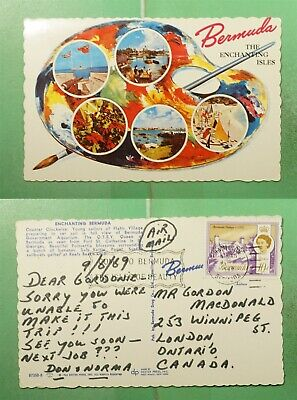 DR WHO 1969 BERMUDA ART POSTCARD TO CANADA AIRMAIL  g20773