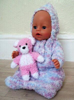 "Baby Born Dolls Clothes Sleeping Bag Toy KNITTING PATTERN Snowflake Chunky 17"""
