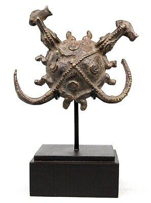Art African - Antique Double Crocodile Bronze Baoulé on base - 12,5 CMS