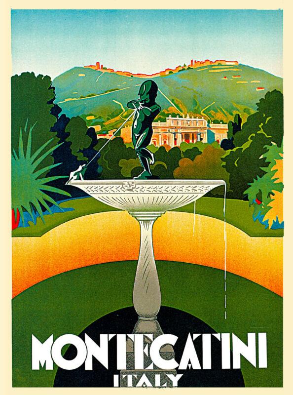 1930 Montecatini Italy Italian Europe Art Travel Advertisement Poster Print