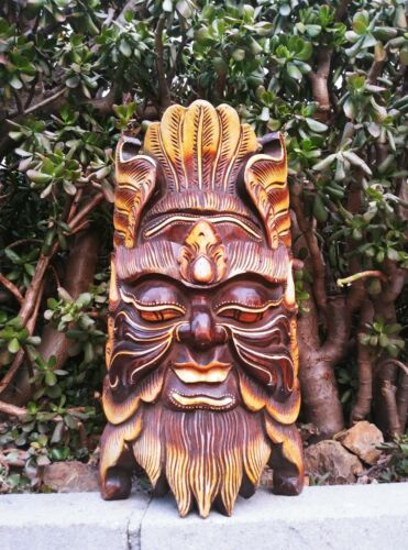"Bali Tribal Green Man Wood Leaf Mythological Mask Wall Decor 20"" x 12"" - #1"