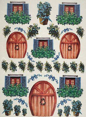 - Rice Paper Door, Windows, Flower Green for Decoupage Scrapbook Craft Sheet