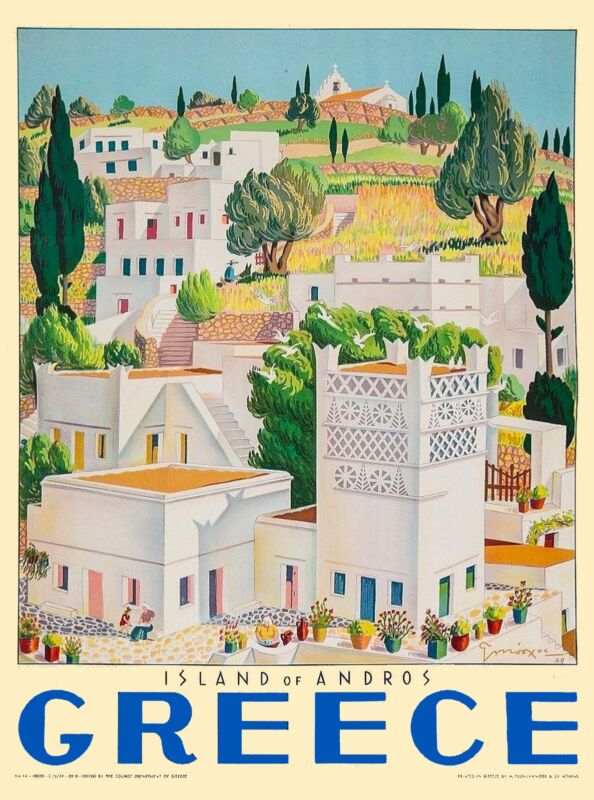 Greece Greek Island of Andros Isle Europe Vintage Travel Advertisement Poster