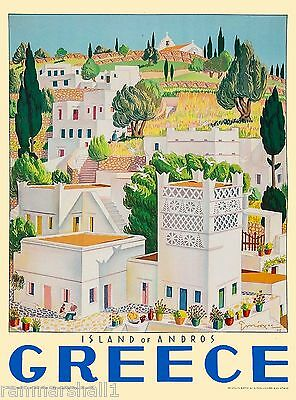 Greece Greek Island of Andros Isle Europe Vintage Travel Advertisement Poster