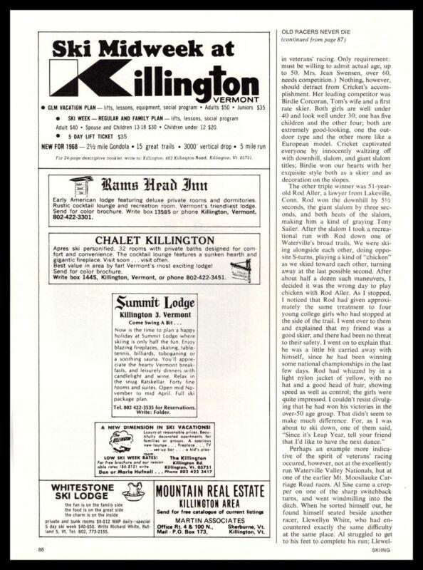 1969 Chalet Killington Vermont Snow Ski Resort Whitestone Lodge Vintage Print Ad