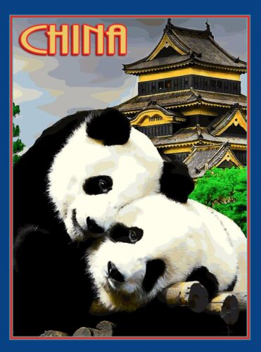 China Chinese Asia Asian Panda Bear Bears Pandas Travel Advertisement Poster