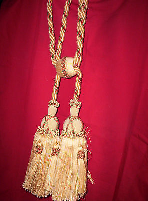 """FRENCH Magnify TASSEL Curtain TIE BACK PULL back DRAPES 28"""" long. Gold, PROVENCAL"""