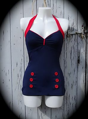 1950s Pin Up Navy Blue Vintage Swimsuit 10 12 14 16 18 20 Retro Swimming Costume